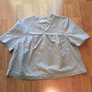Madewell gingham popover top